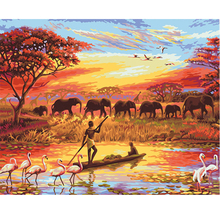 Elephant Sunset Picture DIY Painting By Numbers Modern Wall Art 1 Panel Frameless Poster Home Decor 40x50cm Artworks