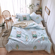 Kids Adult Summer Bedding Sets Soft Cotton Comforter Cartoon Bear Printed Quilt Pillowcase Single Double Bed