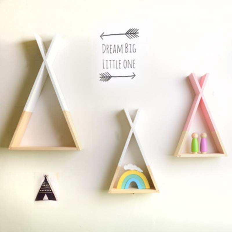 39*23CM Triangular Storage Shelves Nordic Style Kids Baby Room Wooden Decorative Shelf Book Shelf for Bedroom Home Decoration