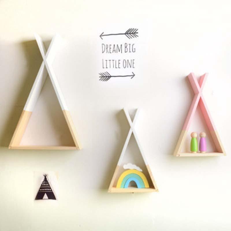 39*23CM Triangular Storage Shelves Nordic Style Kids Baby Room Wooden Decorative Shelf Book Shelf For Bedroom Home Decoration