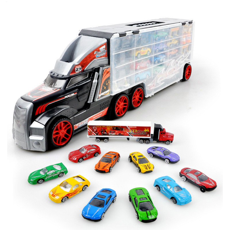 Diecast Truck Model Set Children's Toy Portable Large