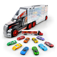 Diecast Truck Model Set Children's Toy Portable Large Tractor Container Model Simulation Mini Truck 10 Alloy Car Roadblock Model