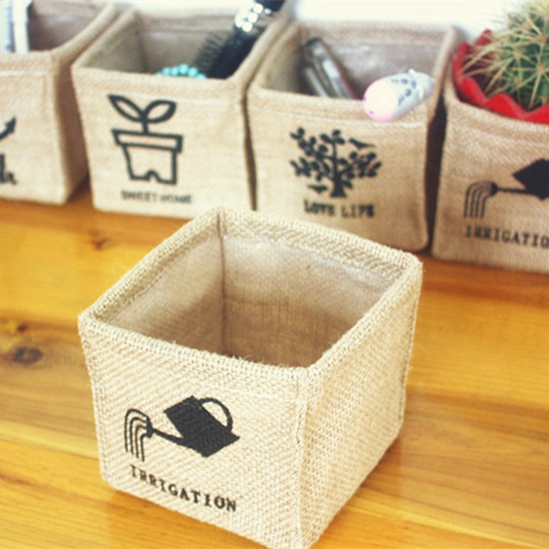10pcs Mini Small Cotton Linen Sundries Storage Basket Box, Jewellry Toys Cosmetic Makeup Snacks Holder Desk Organizer
