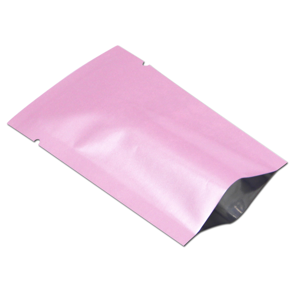 dhl mylar foil food package pouch coffee packaging pouches shiny pink open top aluminum foil bag heat vacuum seal tear notch - Vacuum Sealer Bags
