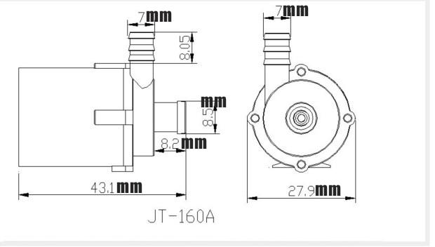 JT160 Wasser Pumpe DC 3,5 6 v Micro Bürstenlosen Pumpe Tauch ...