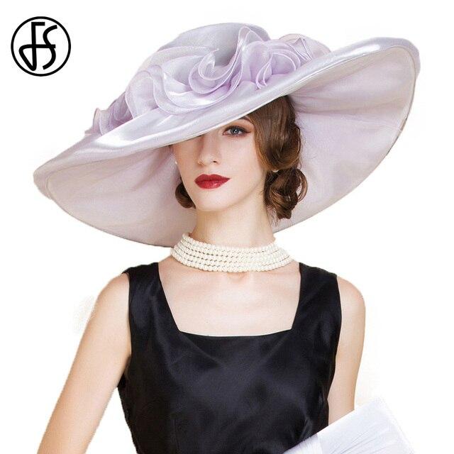 a4731f1ec2c8 FS Elegante Viola Organza Cappello Con I Fiori Kentucky Dery Cappelli A Tesa  Larga cappello Delle