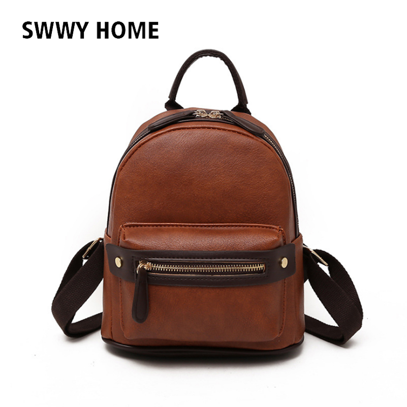 Women's Bags Vintage Pu Backpack Small Rucksack Retro Oil Skin Travel Student School Bag Lady Bagpack Female Satchel