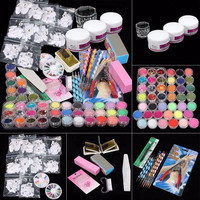 Nail Art Deco Tips Set 37 in 1 Professional Manicure Set Acrylic Glitter Powder French Nail Art Decor Tips Set Freeshipping Hot