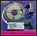 1 set SMD 5050 60 LED / M 5M RGB LED Strip flashlight tape LED lighting IP65 Waterproof strip + 44 key Remote + 3A Power Adapter