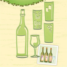 YaMinSanNiO Wine Bottle & Glass Die Metal Cutting Dies for Card Making Scrapbooking Craft Embossing Cuts Stencil Cut
