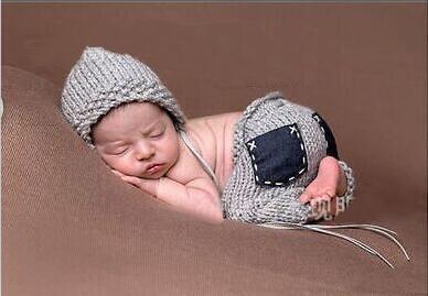 Новорожденный ребенок мальчики крючком наряды вязаная шапка милый серый капот и брюки с карманом 2016 фотосессия для новорожденных 0-6мес