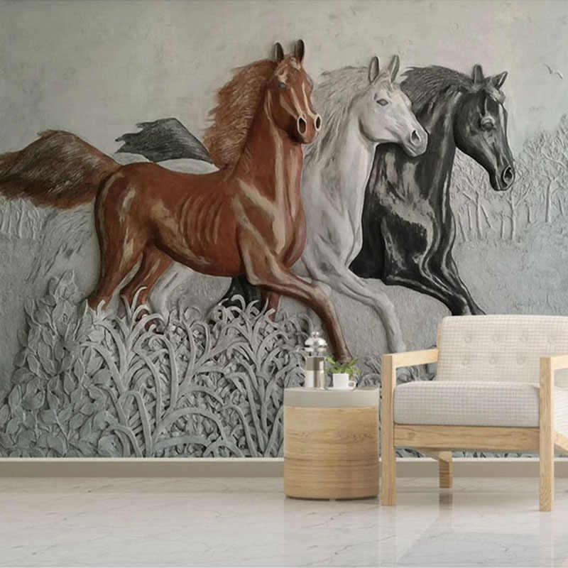 Kustom Foto Mural Wallpaper 3D Stereoscopic Timbul Kuda Lukisan Dinding Kamar Tidur Belajar Living Room Latar Belakang Papel De Parede