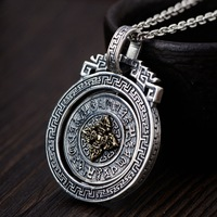 Real Silver Thai silver wholesale 925 pure silver pendant archaize style buddhist six words pendant rotating new product