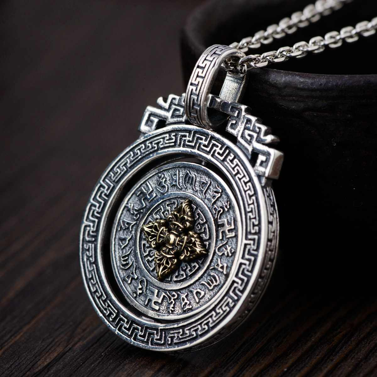 Real Silver Thai silver wholesale 925 pure silver pendant archaize style  buddhist six words pendant rotating new product Pendants  - AliExpress