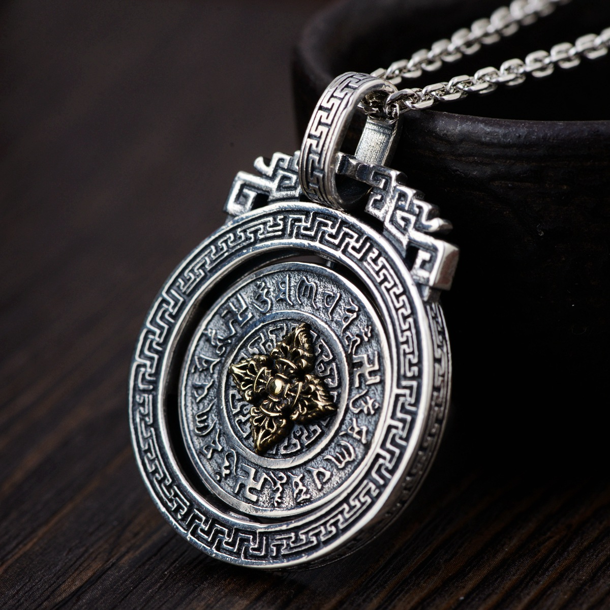 Thai silver wholesale S925 pure silver pendant archaize style buddhist six words pendant rotating new product