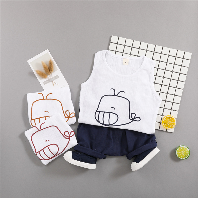 Kids Clothes Sets 2018 Summer Boys Girls Cute Whale Sleeveless T Shirts Vest + Shorts 1-4 T Children Baby Cotton Clothing Suits