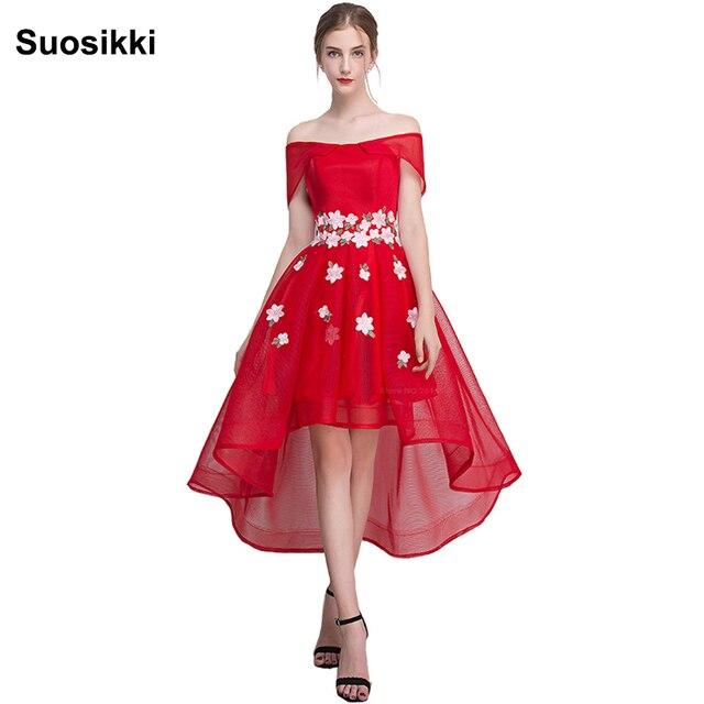 Suosikki Новое торжественное вечернее платье Высокий Низкий цветок Лодка шеи вечернее платье Vestido De Festa
