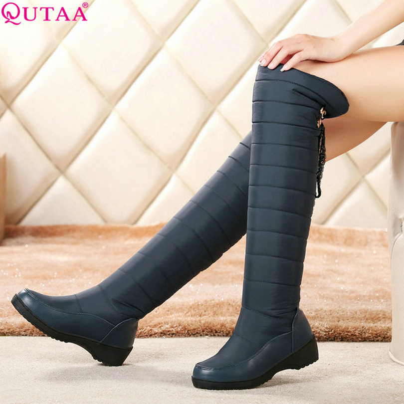 ФОТО QUTAA Blue Round Toe Winter 2016 Knee High Boots PU leather Wedge Med Heel Women Shoes Boots Black Snow Boots size 34-43
