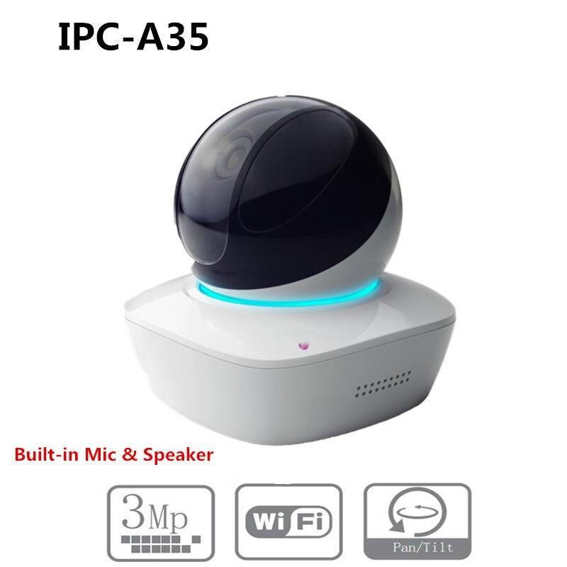 DH Wifi IP Camera IPC-A35 3MP IR10M Distance built-in MIC & SPK with SD Card slot PTZ mini dome IP Camera without logoDH Wifi IP Camera IPC-A35 3MP IR10M Distance built-in MIC & SPK with SD Card slot PTZ mini dome IP Camera without logo