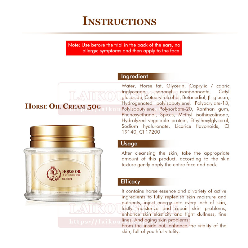 US $13 43 |LAIKOU Horse Oil Miracle Cream 50g Adopts High Quality Korean  Horse Oil Deep Repair Skin Free shipping Face care Makeup-in Day Creams &