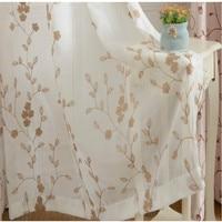 Modern Minimalist Bedroom Floor Cotton Linen Embroidered Screens Window Sheer Panels Garden Curtain