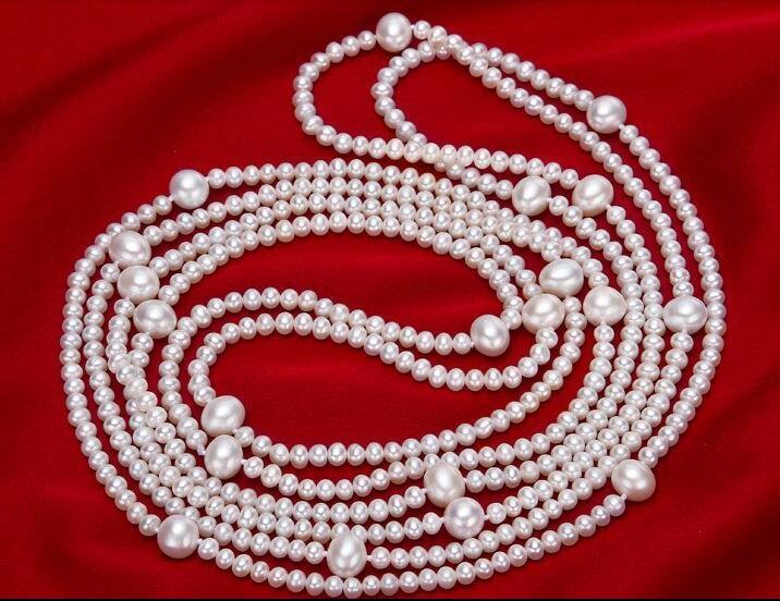 Fashion design elegante 6-11 millimetri collana di perle bianco 58Fashion design elegante 6-11 millimetri collana di perle bianco 58