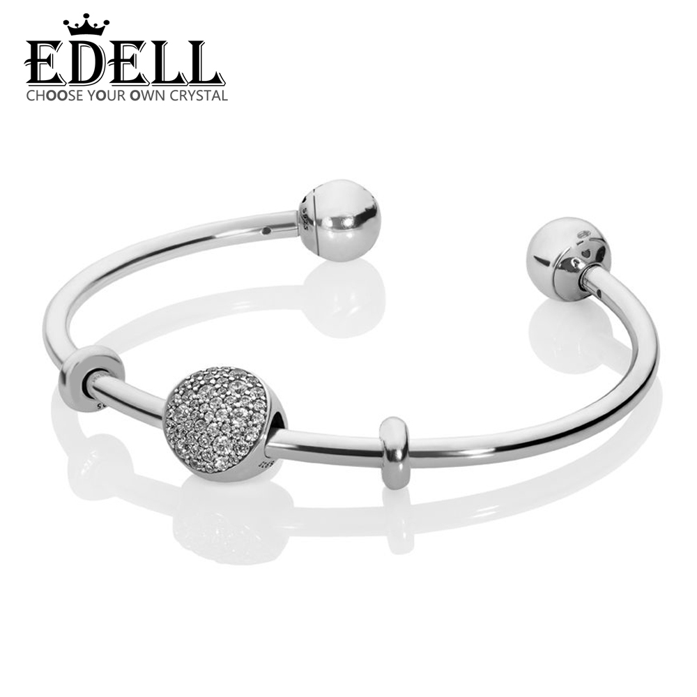 EDELL 100% 925 Sterling Silver New 1:1 PAVE OPEN BANGLE GIFT SET Original Womens Trend Personalized Jewelry Winter RecommendedEDELL 100% 925 Sterling Silver New 1:1 PAVE OPEN BANGLE GIFT SET Original Womens Trend Personalized Jewelry Winter Recommended