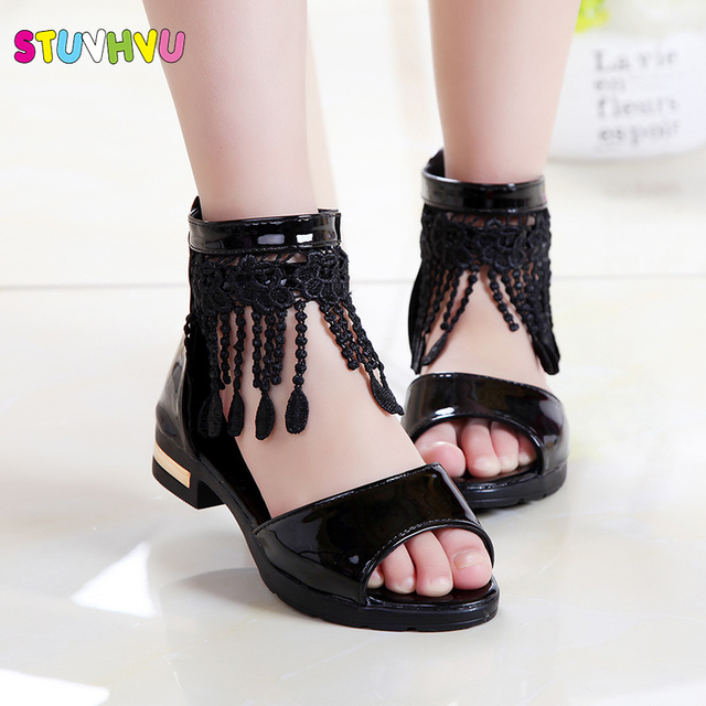 Summer Roman Sandals for Girls Shoes Tassel Lace Kids Sandals New Fish Mouth Princess Shoes Black White Pink Size 27-36 Fashion