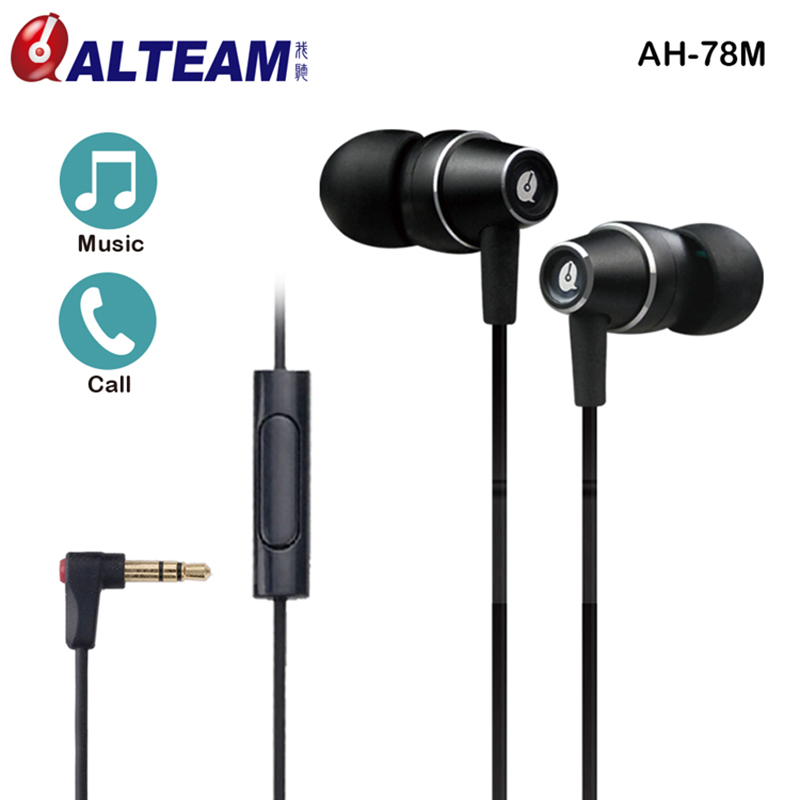 Professional Wired Clear Bass Cool Black 3.5mm In-ear Small Handsfree Music Earphones Earphone for android phone with Mik mic fashion professional in ear earphones light blue black 3 5mm plug 120cm cable