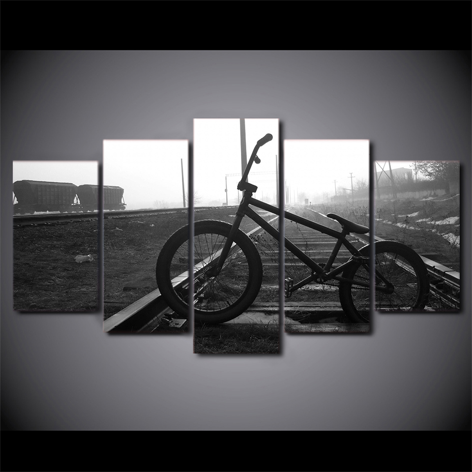 5 Pieces HD Print Painting Railway Track Bicycle Landscape Photo For Modern Decorative Bedroom Living Room Home Wall Art Decor