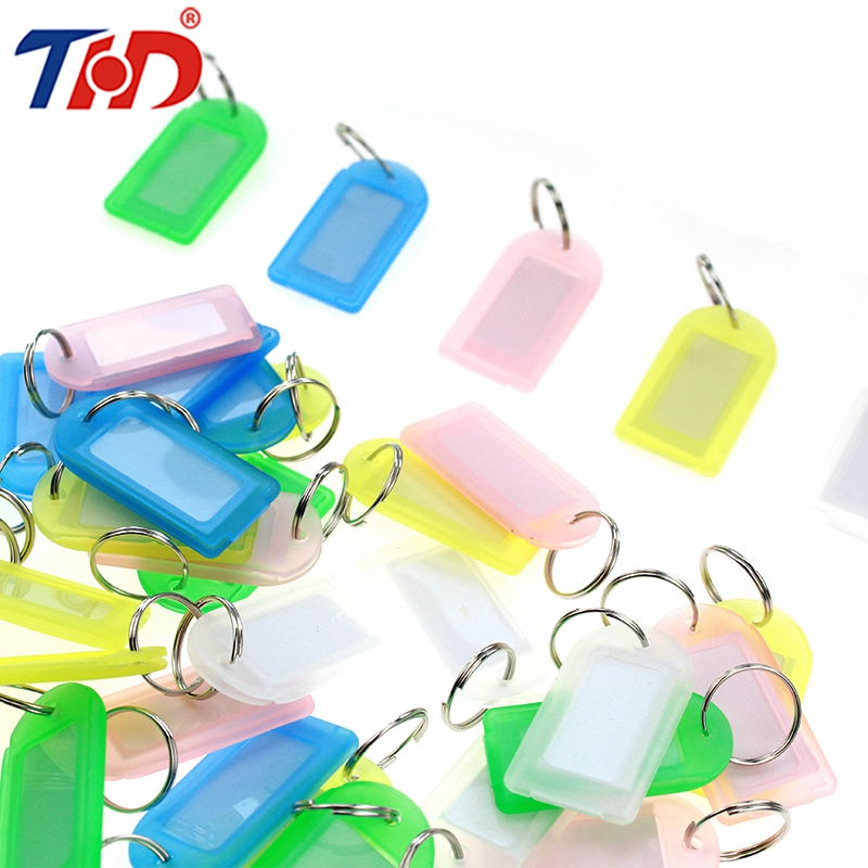 THD 36pcs Colorful Plastic Key Tags Metal Ring Hotel Numbered Luggage ID Card Name Label Keychain Classification