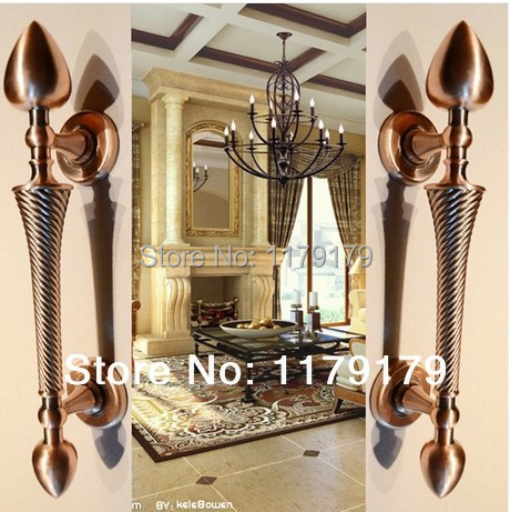 280mm de alta calidad de aleación de Zinc de la vendimia gran puerta de madera puerta manijas manijas de bronce rojo hogar ktv hotel de ministerio del interior puerta de madera maneja
