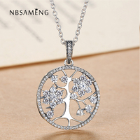 Authentic 100 925 Sterling Silver Family Tree Necklace Pendant For Women Clear CZ Cubic Zirconia Fine