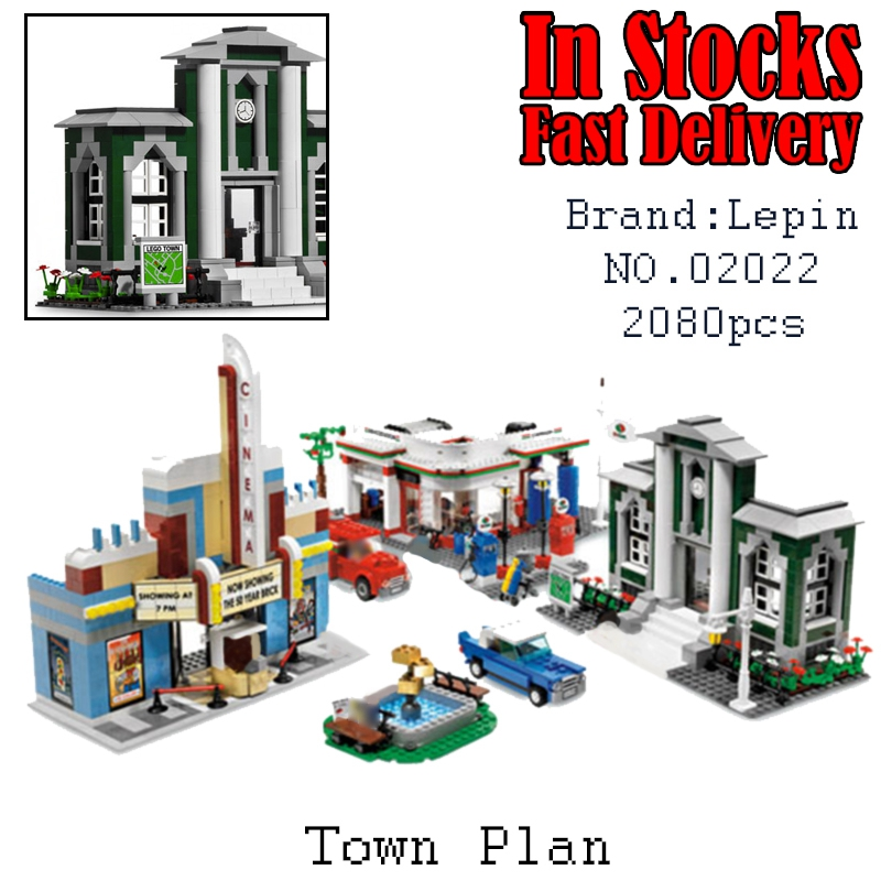 Lepin 02022 1080pcs City 50th Anniversary Town  Building Blocks Bricks educational Toys for children Gifts 10184 brinquedos lepin city town city square building blocks sets bricks kids model kids toys for children marvel compatible legoe