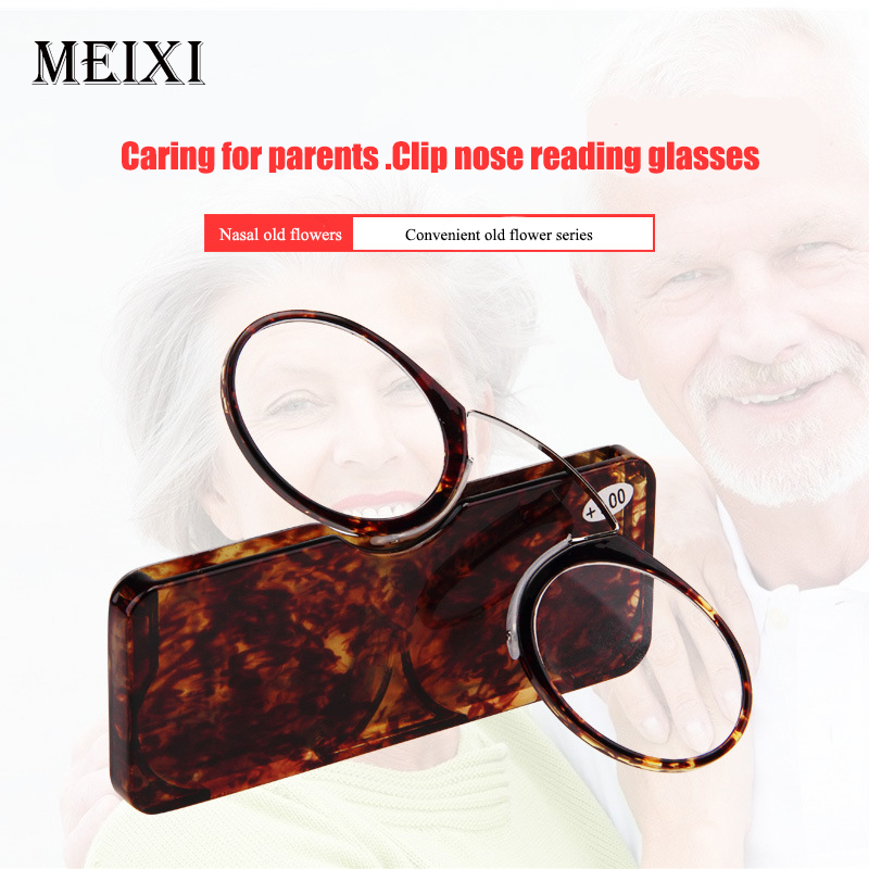 Nose Resting Reading Glasses +1.0 To +3.5, Portable SOS Wallet Reader Clip On Mini Reading Glasses With Case