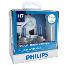 2X Philips H7 12 В 55 Вт PX26d Diamond Vision 5000K супер белый светильник галогенные лампы Автомобильный головной светильник 12972DVS2