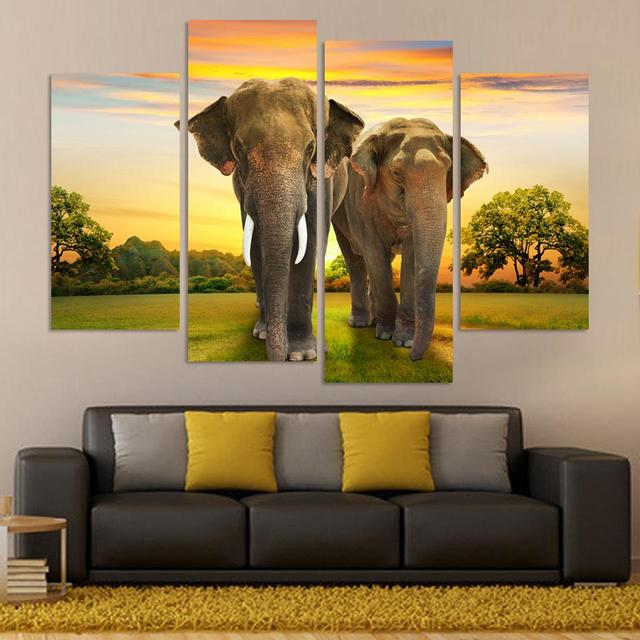 African elephant picture painting canvas art frame 5 panels sunset ...
