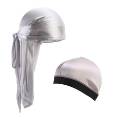 New Unisex Silky Durag Long Tail  Bandana Turban Hat silky Dome Cap wide band stretchy wig cap