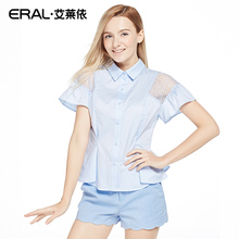 ERAL Women's Summer Slim POLO Collar Lace Hollow Out Butterfly Short Sleeve Brief Cute Beach Blouse ERAL31068-EXAE