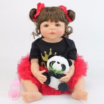 55cm Full Silicone Reborn Baby Doll Toys Girls Boneca Vinyl Newborn Princess Toddler Babies Bebe Alive Birthday Gift Bathe Toy