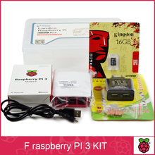 F Raspberry pi 3 *1+16G SD card *1+Original shell* 1+EU power plug*1+heat sink*3+case for raspberry pi 3 kit*1 free shipping