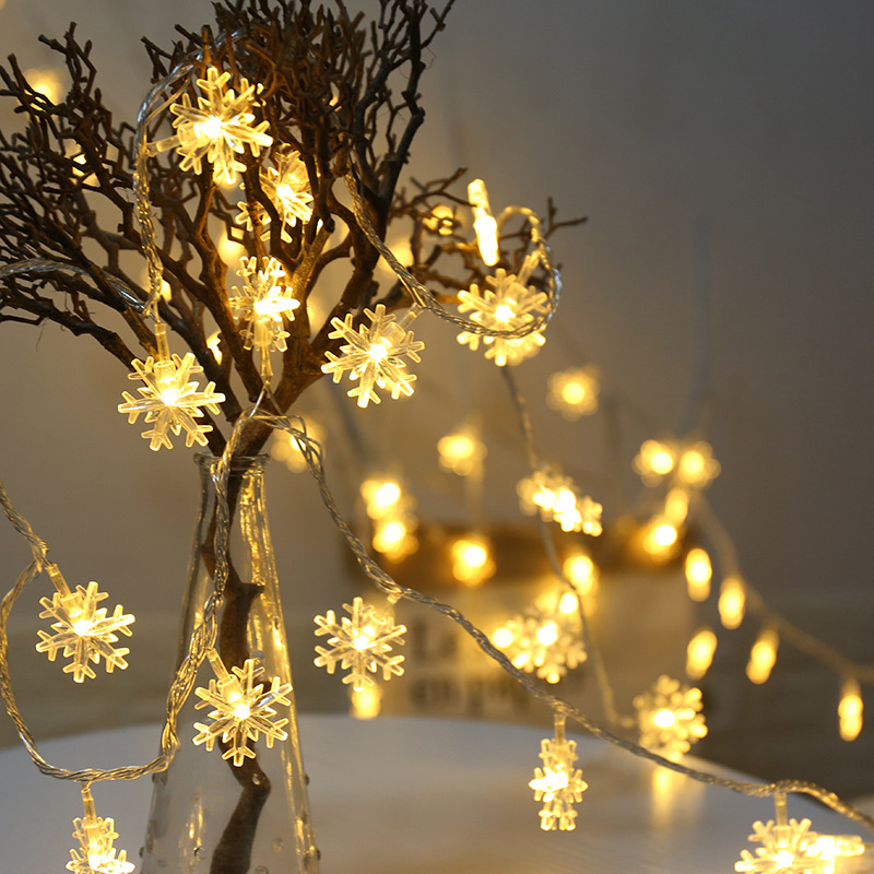 2/4/10M LED Garland Light String Battery Powered Fairy Snowflake Lights String Hanging Ornaments Christmas Tree Party Home Decor