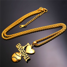 Collare Sport Gym Ball Pendant Men Gold Color Stainless Steel Fitness Bodybuilding Love Baseball Necklace Men Jewelry P044