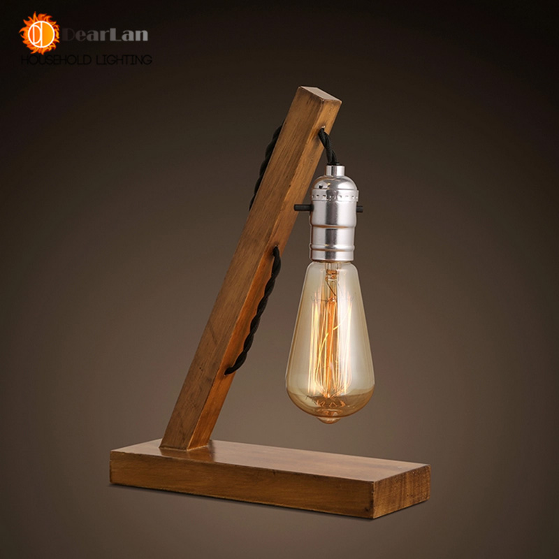 Holz Lesen Tischlampe Holz Licht Jahrgang Industrielle Lampe