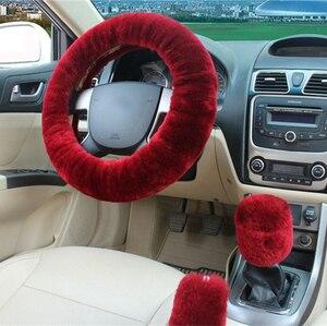 Image 3 - 100% lã trança na cobertura do volante do carro aperto do freio de mão/lã de alta qualidade pelúcia mudança de engrenagem colar
