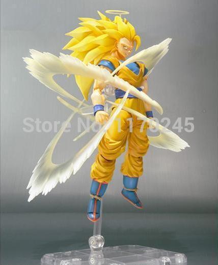 "ФОТО high quality anime dragon ball z shf figma  super saiyan 3 son goku pvc action figure collection toy 6"" 14cm"
