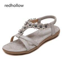цена на Summer Shoes Women Flat Sandals Comfort Bohemia Flower Women Sandals Lady Flip Flops Vintage Shoes Beach Comfort Sandalias Mujer
