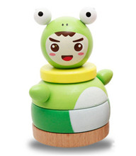 New wooden toy frog prince and Pig Princess blocks Wooden Rainbow Tower Tumbler piles tower sets Baby Free shipping