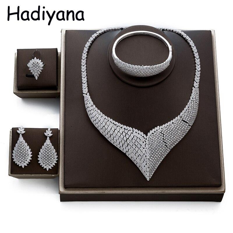 Hadiyana Overdrijven Mode sieraden Set Voor Vrouwen Nieuwe Merk Sieraden Cubic Zinconia Dubai Sieraden Sets Bruiloft Accessoires TZ8009-in Sieradensets van Sieraden & accessoires op  Groep 1