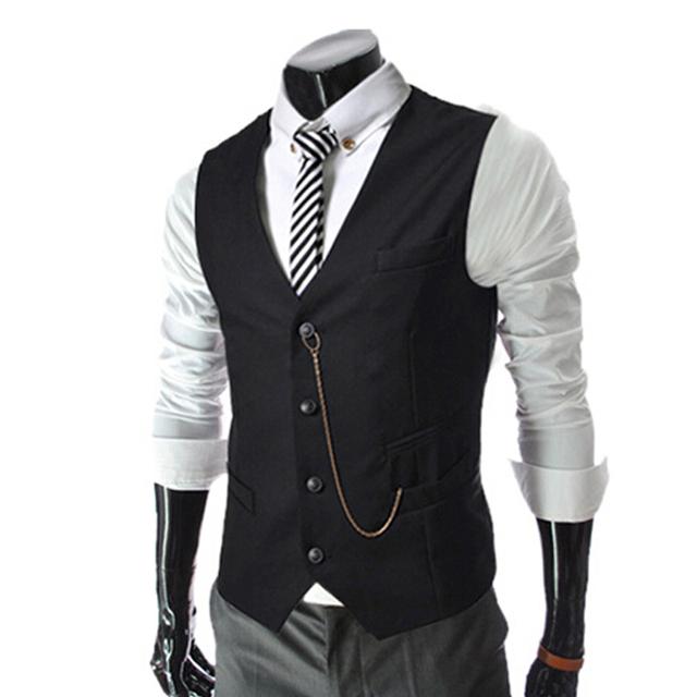 2015 Hot Novos Negócios dos homens Terno Colete Corrente de Metal V-necke Slim Fit Moda Masculina Colete Masculino Colete Blazer 4 Cores tamanho: M-XXL